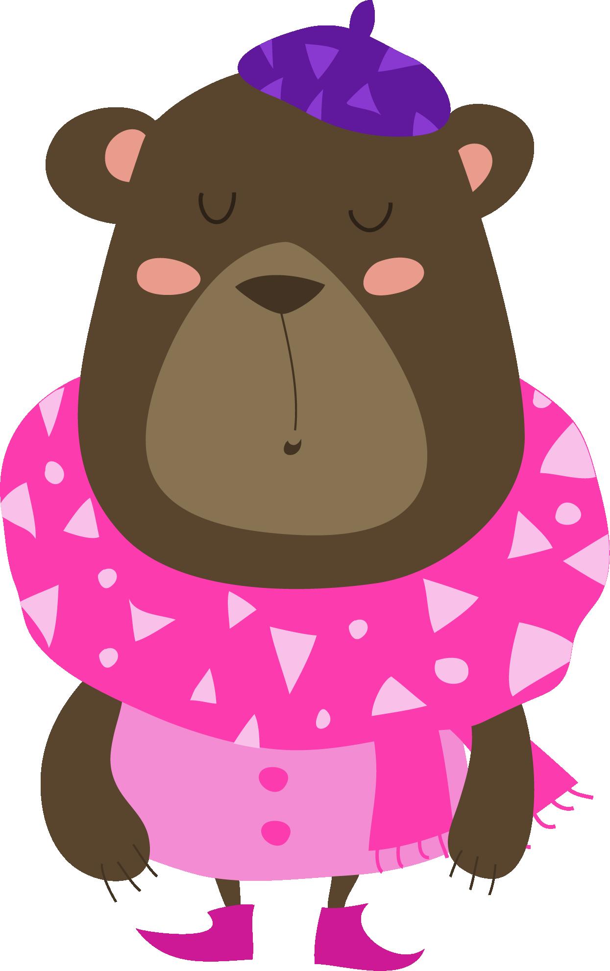 Mama Bear wearing pink dress