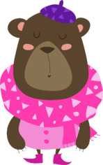 Mama Bear wearing pink dress