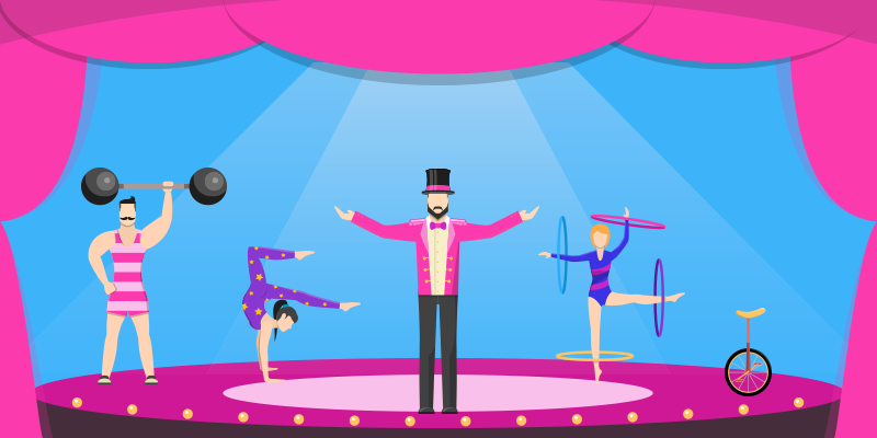 Hubspot marketing software full range of tools like circus acts under one big top.