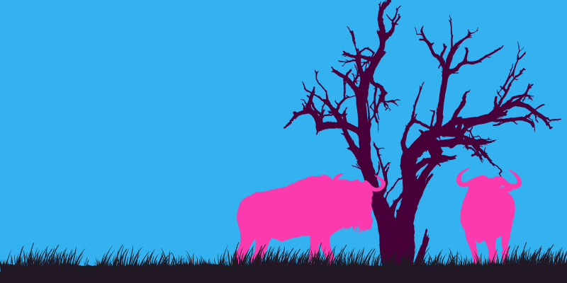 Two wildebeests standing by a tree