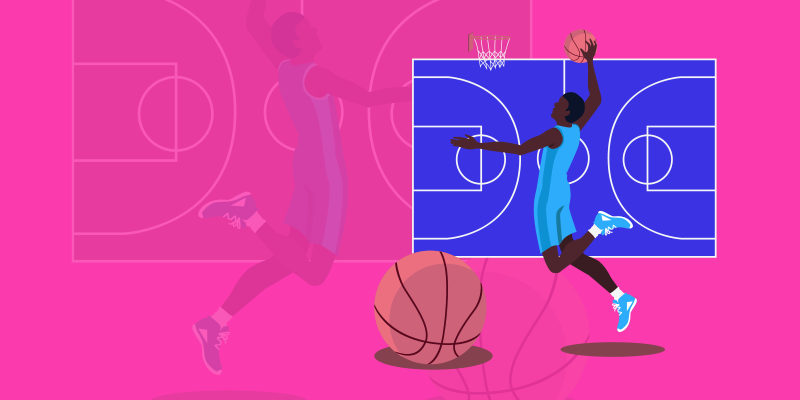Basketball player dunking a ball after winning the adwords attribution model