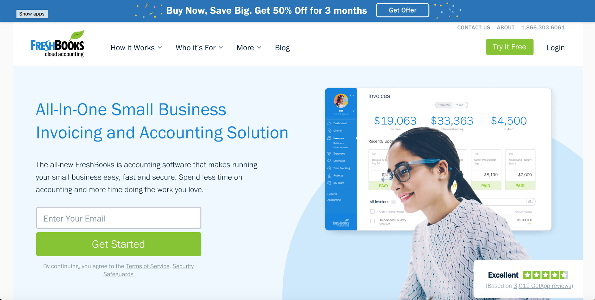 Freshbooks - SaaS Web Design Inspiration