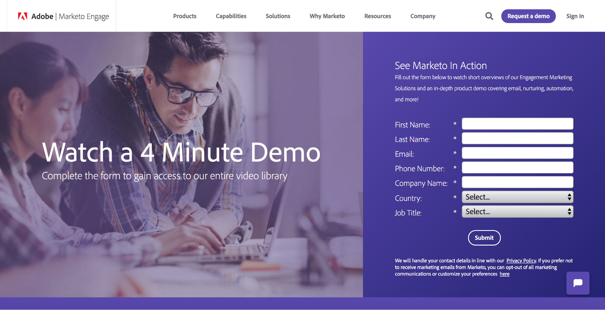 Adobe Marketo Landing Page